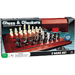 Cardinal Deluxe Chess & Checkers Set with Tournament Size Folding Wood Board