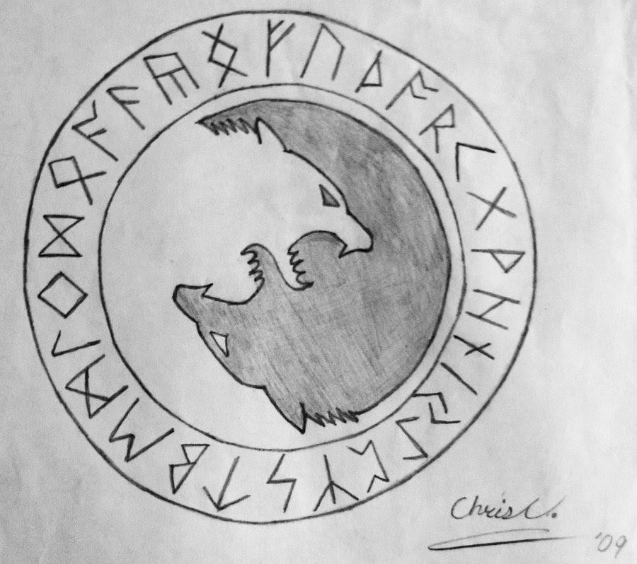Runic Wolf Yin Yang Tattoo Design