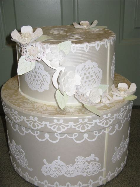 Wedding Cake card box. Made from old hat boxes. Covered