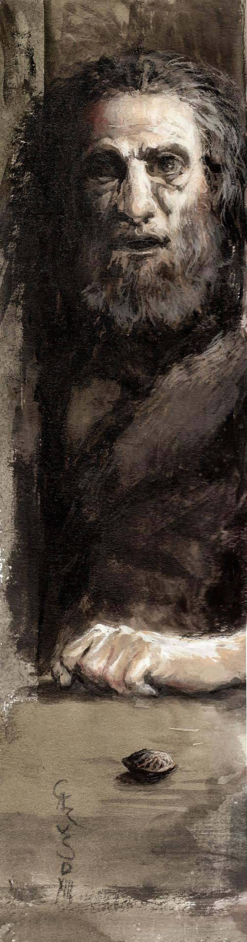 "Santiago Caruso / Study in gouache and tempera for ""La Tentation de Saint Antoine"" / 8cm x 31,5cm"