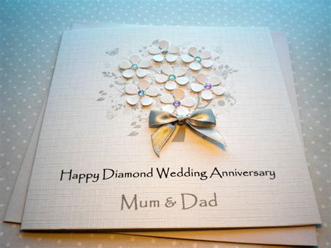 Wedding Anniversary Card Handmade Personalised Diamond