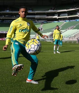 Gabriel Jesus treino Palmeiras (Foto: Cesar Greco/Ag Palmeiras/Divulgação)