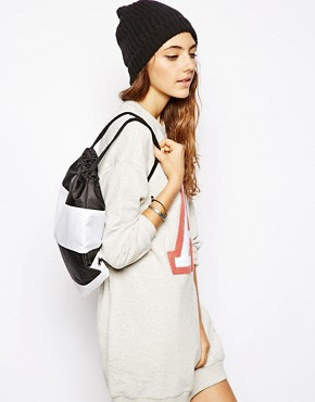 Image 3 of ASOS Drawstring Backpack in Stripe