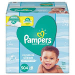 Pampers Complete Clean Baby Wipes, 1 Ply, Baby Fresh, 504/Pack (PGC75614)