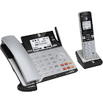 AT&T - TL86103 DECT 6.0 2-Line Expandable Corded/Cordless Phone with Bluetooth Connect to Cell and Answering System - Silver/Black
