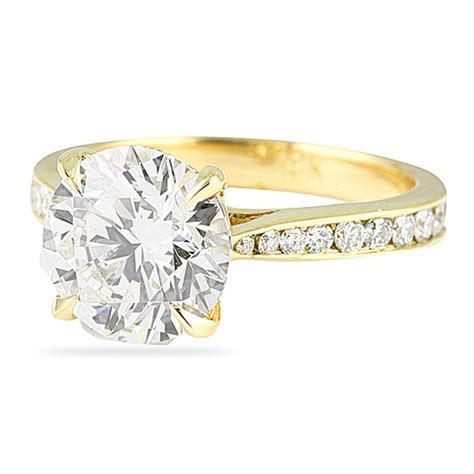3.00 CT ROUND DIAMOND YELLOW GOLD ENGAGEMENT RING