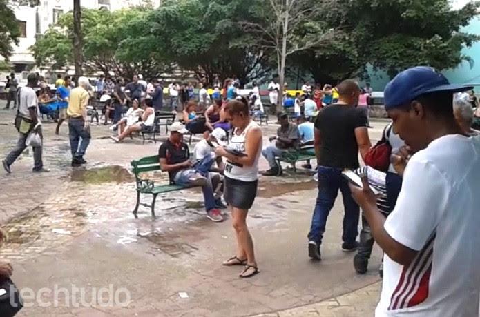 Boulevard San Rafael, uma das zonas wifi de Havana  (Foto: Foto: Giordano Tronco)