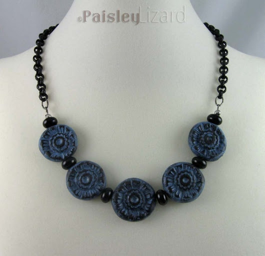 Rustic Blue Black Flowers necklace polymer by PaisleyLizardDesigns