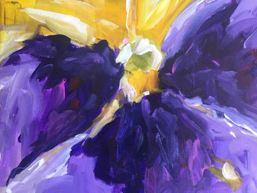 Abstract floral painting  Flower Art shabby chic by BellaCosaArt