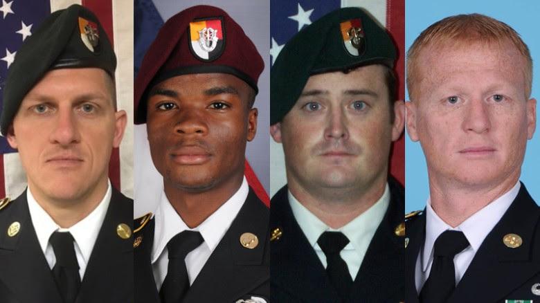 Staff Sgt. Bryan Black, Sgt. La David Johnson, Staff Sgt. Dustin Wright and Staff Sgt. Jeremiah Johnson were killed in an ambush in Niger.