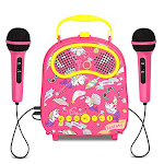 Kids Karaoke Machine 2 Microphones Wired Karaoke Microphone Portable Singing Toy for toddlers Includes Voice Changer, Accompaniment and Original