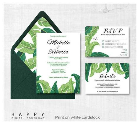 Tropical Leaves   Wedding Invitation Bundle   3pcs   Happy