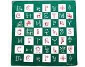 Vintage Christmas Hankie, Rare Designer Hanky, Unusual Game Board Design Spells Merry Christmas, Green & White Squares, Collectible - CUSHgoods