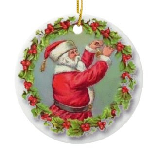 Vintage Santa Fixing a Wreath Ceramic Ornament