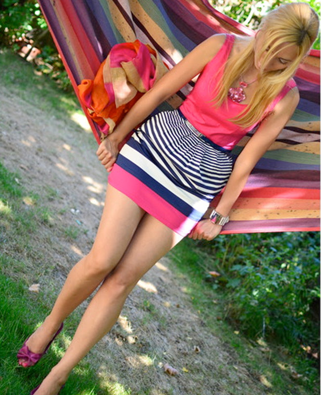 pink and navy dress