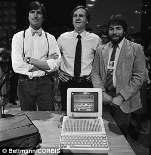 Left to right: Steve Jobs, Apple Predident John Sculley and Wozniak pictured in 1984