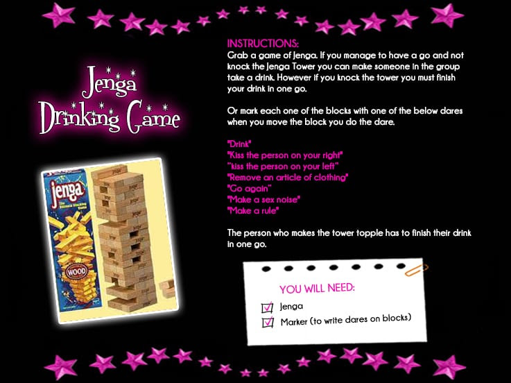 Jenga Drinking Game