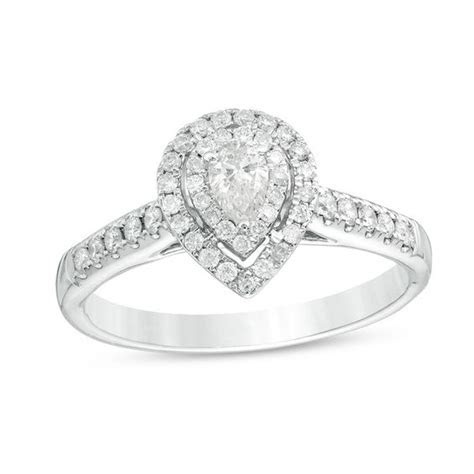 1/2 CT. T.W. Pear Shaped Diamond Double Frame Engagement