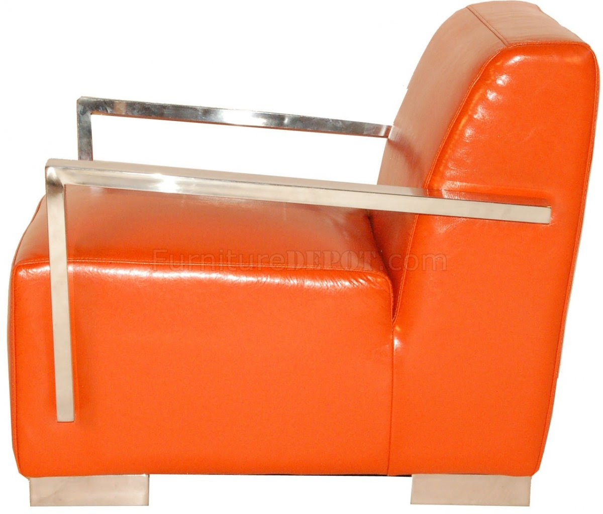 Orange Bi-Cast Leather Modern Lounge Chair w/Metal Arms & Legs