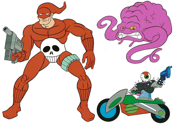 (TMNT Spinoff) ..Mutanimals The Animated Series! - Guzzler,Gunskull & Krang ..[[Courtesy of Ryan Brown]] ((1992))