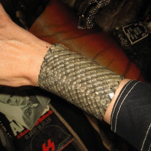 Gar fish skin cuffs Ryan made last week !!!!! Totally fuckin vicious !!!!