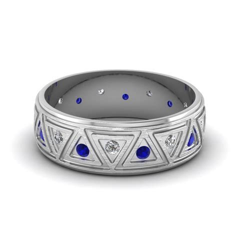 Brushed Finish Diamond Wedding Band With Sapphire In 14K