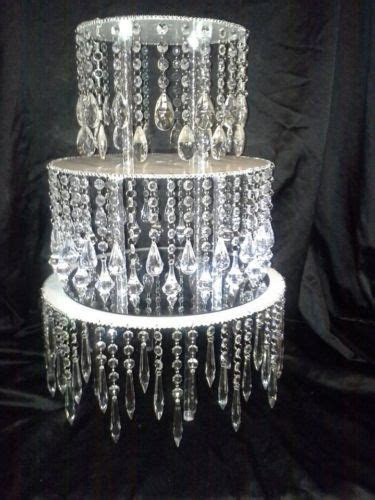 "Acrylic Crystal Chandelier Wedding Cake Stand   7.5"" tall"