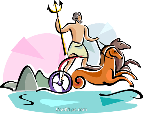 海の神ギリシャの神のポセイドン ロイヤリティ無料ベクタークリップ