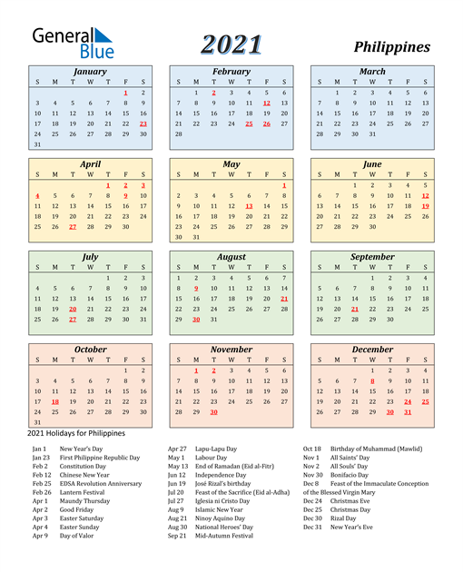 2021 Calendar Philippines | Printable March