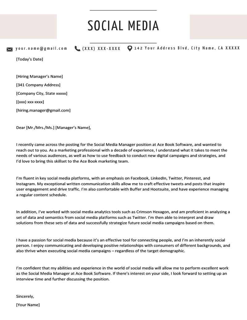 Social Media Cover Letter Example Resume Genius