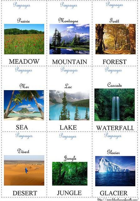 petites cartes d'anglais paysages 1 AAAAAAAAAAAAAAAAA