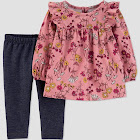 Baby Girls' 2PC Floral Top & Bottom Sets - Just One You Made by Carter's Peach/Blue