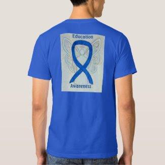 Education Awareness Blue Ribbon Angel Custom Tee