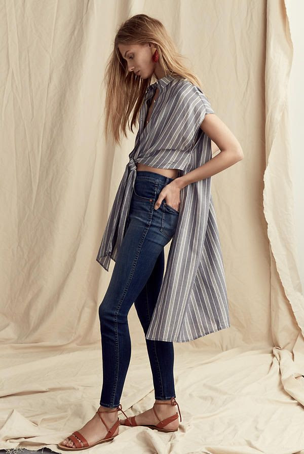 Le Fashion Blog Must Have Striped Long Tunic Top Via Madewell