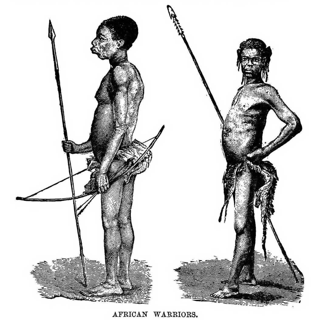 Dessin expédition Stanley en Afrique guerriers africains