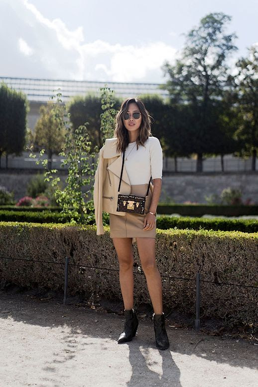 Le Fashion Blog Beige Leather Jacket White Ribbed Sweater Leather Mini Skirt Snake Effect Boots Via Song Of Style