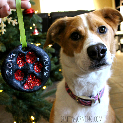 Salt Dough Puppy Paw Print Christmas Ornament - Crafty Morning
