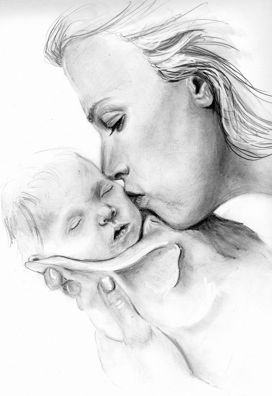 Mother Child Pencil Sketch : mother, child, pencil, sketch, Pencil, Drawings, Mother, Pencildrawing2019