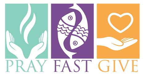 A graphic from Catholic News Service depicts the three pillars of Lent: prayer, fasting and almsgiving.