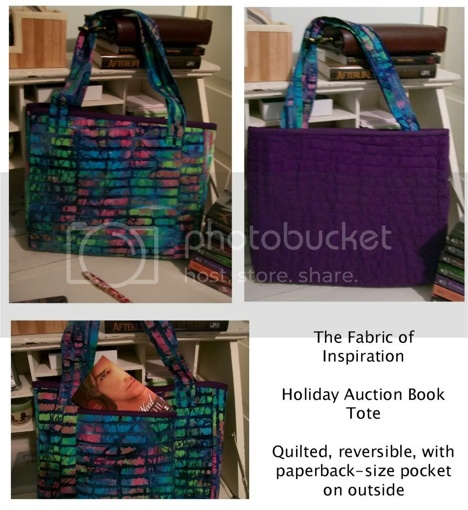 The Fabric of Inspiration book tote for the winner of the Darkyn novels auction, hand-quilted, reversible, with a paperback-size pocket on the outside -- click on image to see larger version