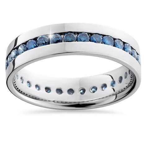 1.25CT Blue Diamond Channel Set Eternity Mens Wedding Ring