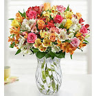Assorted Roses & Peruvian Lilies Double Bouquet with Clear Vase