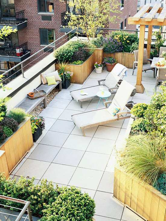 balcony and roof terrace design ideas plants containers