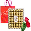 Amazon.com : Valentine Day Gift Ferrero Rocher Hazelnut Chocolates Diamond Box 48 Count | Velvet Artificial Rose Flower bouquet | Premium Gift Bag Basket Love Heart Wife Girlfriend Mother Daughter Her (Hazelnut) : Grocery & Gourmet Food