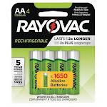 Rayovac AA Rechargeable Battery, Nickel-Metal Hydride, 1.2VDC, 1350mAh, PK 4 LD715-4 GENE