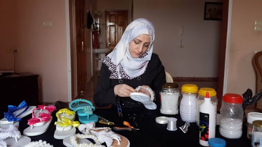 A 35 year old Gaza woman leading her successful accessory making business