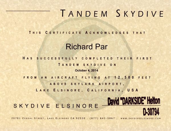 The certificate for my Skydive Elsinore jump.