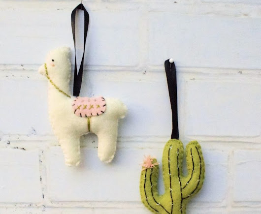 Felt Llama and Cactus tutorial from Bustle & Sew