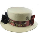 Ladies Steampunk Skimmer Victorian Gears Cogs Roses Sun Hat Cosplay Accessory