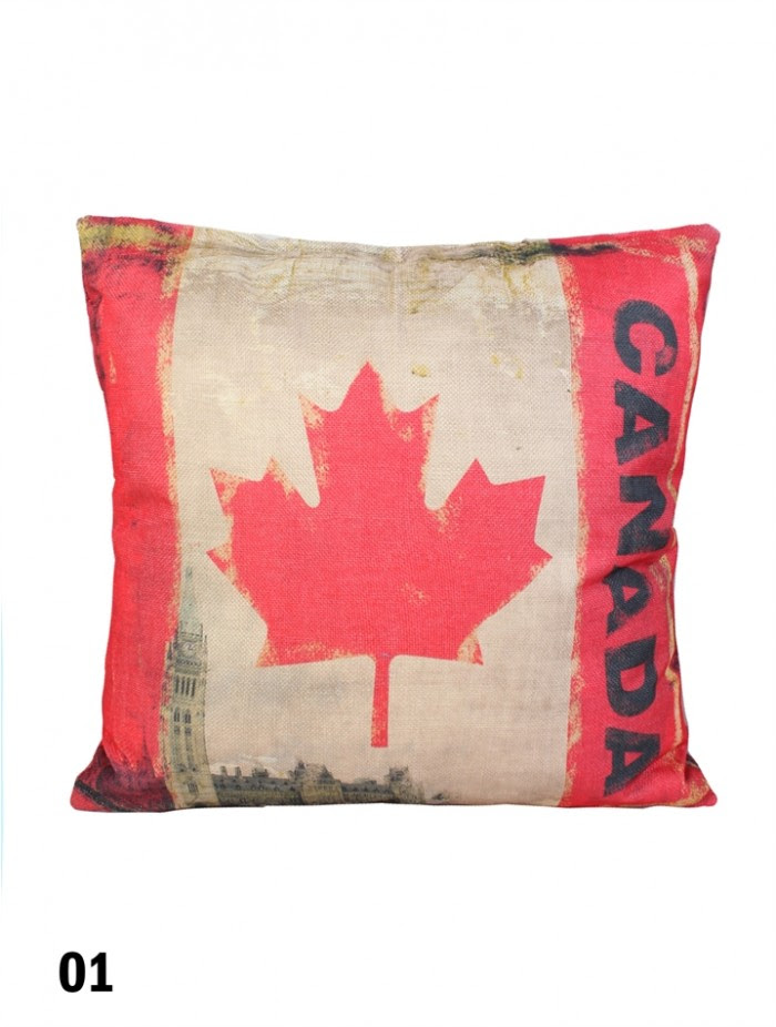 Double Sided Canadian Flag Print Cushion Filler